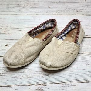 Toms Natural Canvas Slip On Flats Loafers